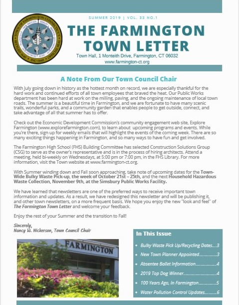 Summer Farmington Town Letter Cover
